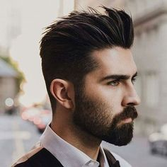 Hairstyles For Widow's Peak - Brush Up with Beard #menshairstyleswidowspeak
