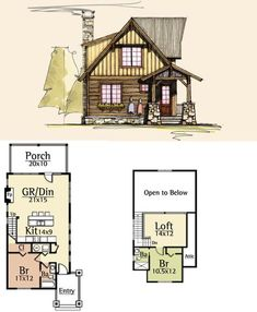 Tiny House Plans 571535008959938540 - Moss Creek House Plans – Outfitter I :: 1283 sq. Guest House Source by Sims House Plans, Cabin House Plans, Tiny House Cabin, Tiny House Design, Cabin Homes, House Floor Plans, Tiny Homes, Cabin Floor Plans Small, Loft Floor Plans