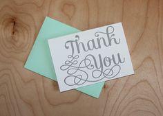 Silver Letterpress Thank You set of 6 note by WishboneLetterpress, $12.00