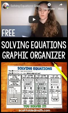 Have students who struggle with solving equations with variables on one side or both sides? This solving equations graphic organizer can help catch those students up to speed and get them independently solving equations. Algebra Activities, Math Resources, Teaching Math, Math Games, Teaching Technology, Technology Tools, Educational Activities, Teaching Ideas, Line Math