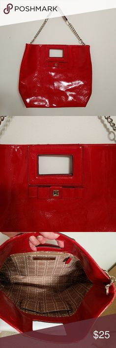 Liz Claiborne red patent purse NWOT this is an extra large red patent purse. The handles are silver chains. It is 14 inches in length and 15 inches high and 5 inches deep Liz Claiborne Bags