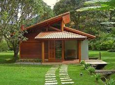 Landscaping Ideas Around Patio Tyni House, Sell House, Bamboo House, Solar Panels For Home, Wooden House, Tiny House Design, Small House Plans, House In The Woods, Exterior Design
