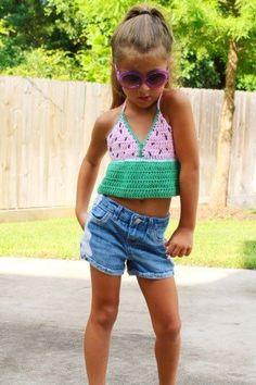 Crochet Halter Tops, Crochet Crop Top, Knit Crochet, Top Boho, Boho Tops, Crochet Toddler, Crochet For Kids, Loom Knitting, Baby Knitting