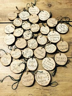 This is a hand cut and hand burned ornament perfect for christmas, I can burn any saying, message, names, quotes or designs onto the reverse side. Please feel free to choose from this list, or message me if you would prefer something else: Merry Christmas Seasons greetings Be merry Silent night Baby its cold outside Away in a manger Noel Santa baby Joy to the world Santa Claus is coming to town Jingle all the way 1st Christmas as Mr and Mrs Come let us adore him We believe tis the season…
