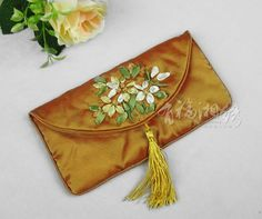 HAND EMBROIDERED SILK CLUTCH   chinese embroidery tutorial