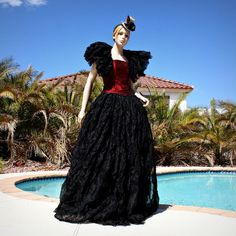 Twilight Masquerade Ball Gown Skirt and Ruffled Shrug Costume in Black... ($250) ❤ liked on Polyvore