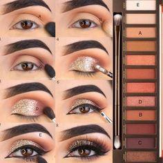 Tipps zum Schminken anwenden - - Make-Up Eyeshadow Tutorial For Beginners, Makeup For Beginners, Beginner Makeup, Simple Eye Makeup, Natural Eye Makeup, Natural Beauty, Eye Makeup Steps, Urban Decay Makeup, Urban Decay Naked Heat