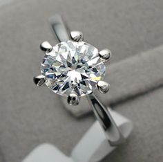 Classic Tiffany Style 1CT Round Cut Solitaire Russian Lab Diamond Solitaire 14K White Gold Engagement Ring