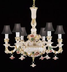 Authentic Capodimonte Porcelain Chandelier Lighting With Shades