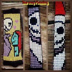 3 Nightmare before Christmas seed bead loom bracelets. Jack & Sally bracelet, Jack Skellington bracelet, and Jack as Sandy Clause.