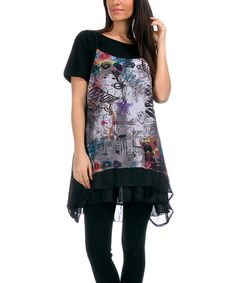 Pomme Rouge Black & Gray Graffiti Tunic - Women & Plus by Pomme Rouge #zulily #zulilyfinds