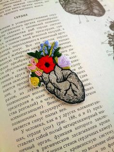 Hand embroidered iron on patch Anatomical heart patch Flower heart Gift for doctor nurse Grunge patches Cool patches for jackets