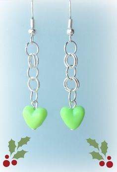 Green Heart And Chain Dangle Earrings - £4.00 (free shipping) #craftfest