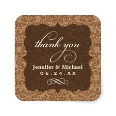 Wedding Thank You Sticker | Floral Monogram