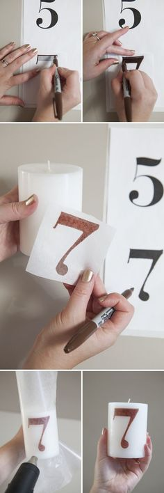DIY wedding ~ Candle Table Numbers How to make a 'tissue paper transfer' candle table number! Table numbers for wedding reception, easy wedding crafts Wedding Crafts, Diy Wedding, Wedding Favors, Wedding Reception, Dream Wedding, Wedding Souvenir, Wedding Ceremonies, Wedding Music, Nautical Wedding