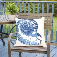 Coastal cool, and sophisticated, this Blue Nautilus Shell Outdoor Sunbrella® Pillow embroidered with amazing shell details is created to enhance any indoor or outdoor room with classic styling. Sunbrella Pillows, Outdoor Throw Pillows, Cushions, Ancient Egyptian Art, Ancient Aliens, Ancient Greece, Ancient History, Navy Blue Pillows, Nautilus Shell