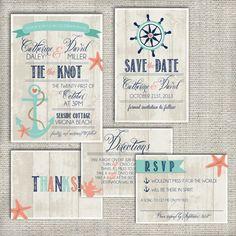 Wedding Invitation Suite Set DEPOSIT - Personalized, Digital, Printable, Custom, DIY - NAUTICAL, Beachy, Rustic (Wedding Design #1) on Etsy, $55.00