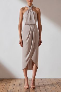 New Shona Joy Bridesmaid Core Knot Draped Dress - Oyster Elegant Dresses, Sexy Dresses, 1940s Dresses, Evening Dresses, Casual Dresses, Fashion Dresses, Dresses For Work, Vintage Dresses, Party Dresses