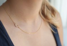 Crescent Moon sideways gold necklace Moon by SincerelyDelightful