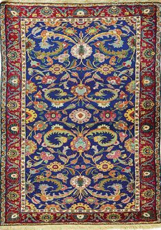 Persian Sarouk rug, scrolling vines and flowers, red ground, blue border; 117x166 cm., Tiroche auction house