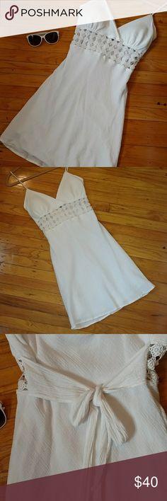 Sundress Elegant white cotton sundress Crochet mid section Slip on with tie back 100% cotton  Fully lined Size medium Smoke free? pet free home Dresses Mini