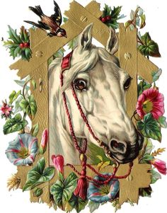 Oblaten Glanzbild scrap diecut chromo Pferd 15,8cm  horse cheval head buste gold