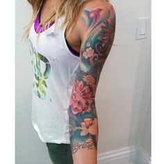 Chronic Ink Tattoo - Toronto Tattoo  Flowers and butterflies 3/4 sleeve tattoo done by Mor.
