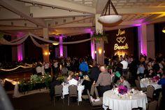 Pink lighting around reception room