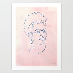 One line Frida Kahlo Art Print by quibe - $18.72