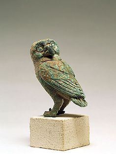 130. Owl, Bronze H: 7.58 cm. L: 8.23 cm. Allegedly from the peninsula of Cnidus, East Greek, First half of the 5th century B.C. On view: Musée d'Art et d'Histoire, Geneva: 1971-1973