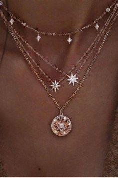 stars pendant multi-layer necklace Lupsona - May 05 2019 at Cute Jewelry, Boho Jewelry, Jewelry Accessories, Fashion Jewelry, Women Jewelry, Star Jewelry, Beaded Jewelry, Craft Jewelry, Copper Jewelry