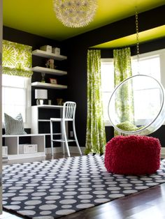 Lime Green, Black and White Design, Pictures, Remodel, Decor and Ideas