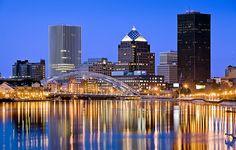 Beautiful shot of Rochester, NY skyline.