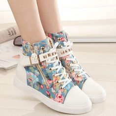 """Students floral canvas high help shoes Coupon code """"cutekawaii"""" for 10% off"""