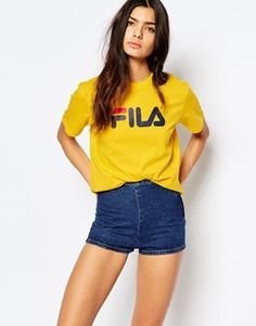 Buy Fila Oversized Boyfriend T-Shirt With Front Logo at ASOS. With free delivery and return options (Ts&Cs apply), online shopping has never been so easy. Get the latest trends with ASOS now. Jean Outfits, Cute Outfits, Funky Outfits, Girl Outfits, Boyfriend Shirt, Casual Wear, Summer Outfits, Tee Shirts, T Shirts For Women