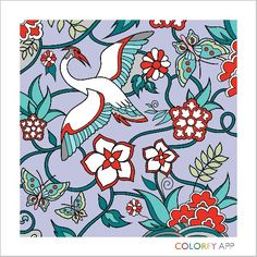 Stork bringing blessings. Inspired by japanese art. #colorfy
