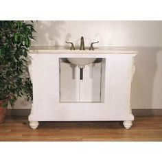 """P5512-03A Sink Chest -- Width: 48"""" Height: 36"""" Depth:: 20"""" Finish: Ivory White / in photo: BACK of P5512-03A Sink Chest"""
