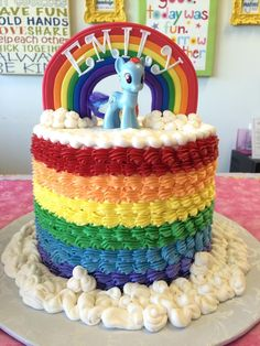 rainbow buttercream my little pony cake // cindy's cakery