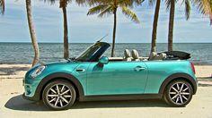 Turquoise Mini Cooper Convertible
