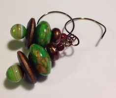Rebirth Green Mosaic Turquoise, Banded Agate and Wood Dangle earrings