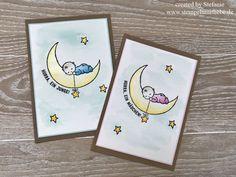 Stampin Up - Card - Karte - Stempelset Moon Baby - Karte zur Geburt - Himmelblau - Glitzer - Mädchen - Junge - Aquarellstifte ♥ StempelnmitLiebe