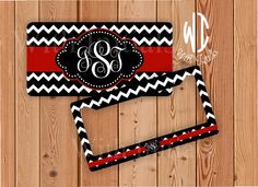 Black and White Chevron license plate or frame monogrammed - red monogram chevron car tag chevron bike accessory by WithInitials on Etsy https://www.etsy.com/listing/199945062/black-and-white-chevron-license-plate-or