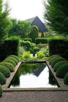 Driving through Dallas the other day, I noticed an exceptional home built by a renown architect that was for sale. I became absolutely giddy with excitement, the outside had beautiful boxwoods, bot… Koi Pond Design, Landscape Design, Formal Gardens, Outdoor Gardens, Outdoor Rooms, Water Features In The Garden, Parcs, Garden Spaces, Water Garden