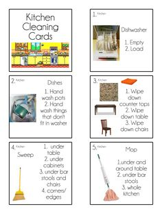 Tips from a Typical Mom: Chore Cards {Chore Flip Charts}. Great for kids. Shows exactly how to clean kitchen with needed tools and supplies. Cleaning Checklist, Cleaning Hacks, Cleaning Schedules, Zone Cleaning, Visual Schedules, Kitchen Cleaning, Cleaning Recipes, Bathroom Cleaning, Chores And Allowance