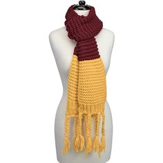 Knitted Fringe Scarf-Maroon/Yellow