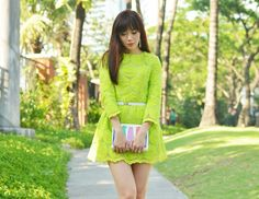 neon green lace dress Camille Co, Cos Fashion, Neon Outfits, Green Lace Dresses, Drama Queens, First Photo, Neon Green, Collection, Shopping