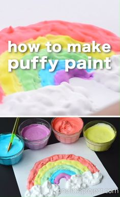 Seriously though, aren't those clouds amazing?! This homemade puffy paint was such a fun and EASY craft for the kids to do! They loved the texture and had so much fun mixing everything together! With three simple ingredients, you can keep the kids entertained for hours!