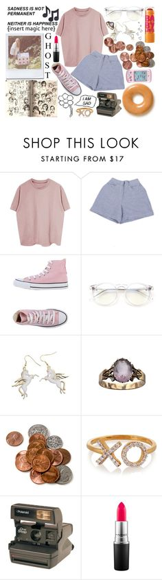 """""""424"""" by lizziestdrane ❤ liked on Polyvore featuring My Mum Made It, Converse, Wildfox, Topshop, Maybelline, Aamaya by Priyanka, Polaroid, Hello Kitty, Music Notes and MAC Cosmetics"""