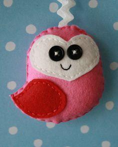 Pink Wool Felt Owl Christmas Ornament