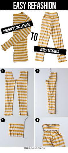 Sewing Men Clothes Make leggings out of a long sleeve tee! Sewing Kids Clothes, Sewing For Kids, Baby Sewing, Kids Clothes Refashion, Sewing Men, Men Clothes, Style Couture, Diy Couture, Diy Mode